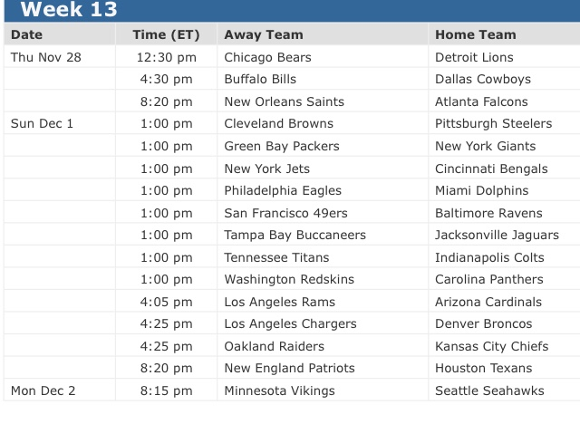 Nfl Week 13 Schedule