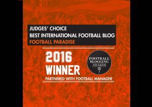 Football Paradise wins best International Football Blog Award at the Football Blogging Awards 2016, Manchester, UK