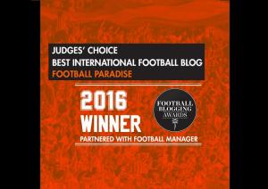 Football Paradise wins best International Football Blog Award at the Football Blogging Awards 2016, Manchester, UK