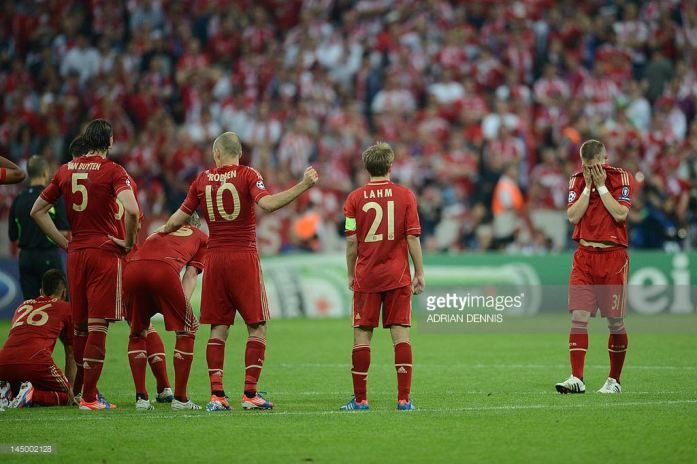 Munich, 2012: Bastian Schweinsteiger returns after hitting his penalty on the bar