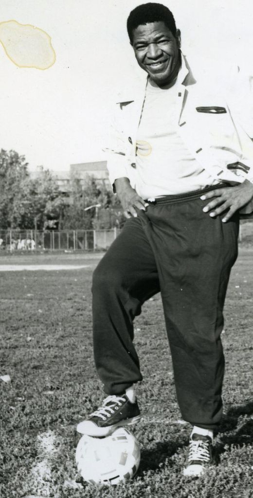 """Steve """"Kalamazoo"""" Mokone: the first S.A. football player to play for a European club, founder of The Kalamazoo South African Foundation and is also on the board of directors of the Commonwealth Sports Awards. Circa 70's © Sowetan"""