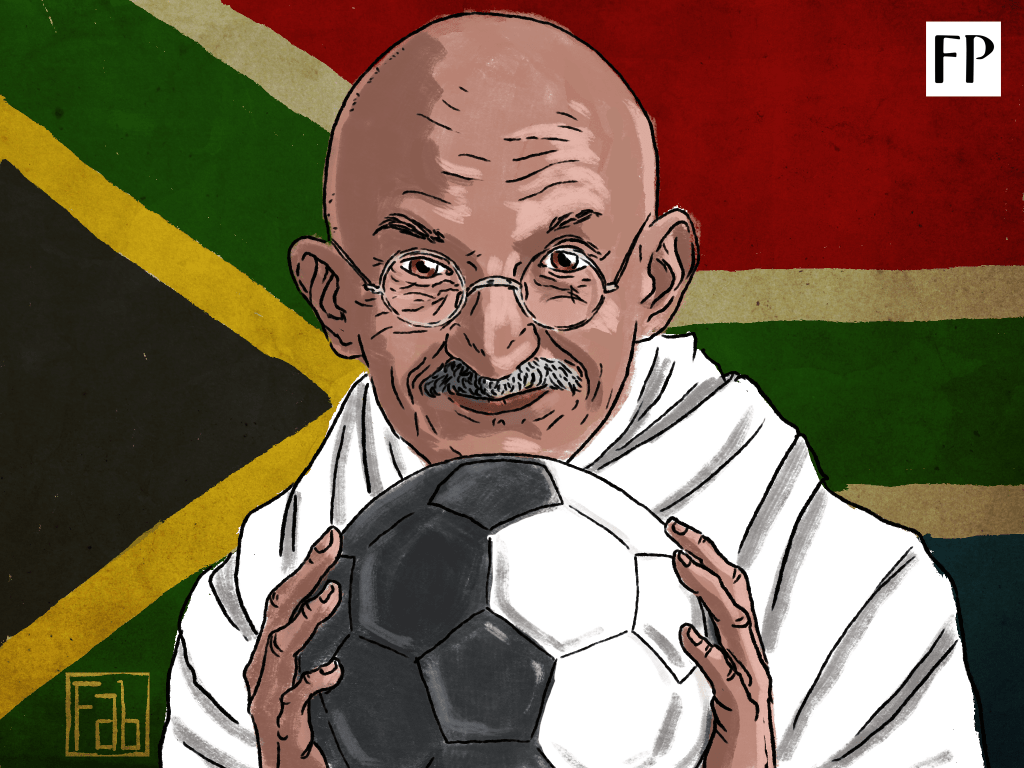 When you read of Mahatma Gandhi in South Africa, you read of train journeys and law firms and the fight against colonial oppression. There is a little known story of the Mahatma using football as a tool in his war against the people who invented the game. (Art by Fabrizio Birimbelli)
