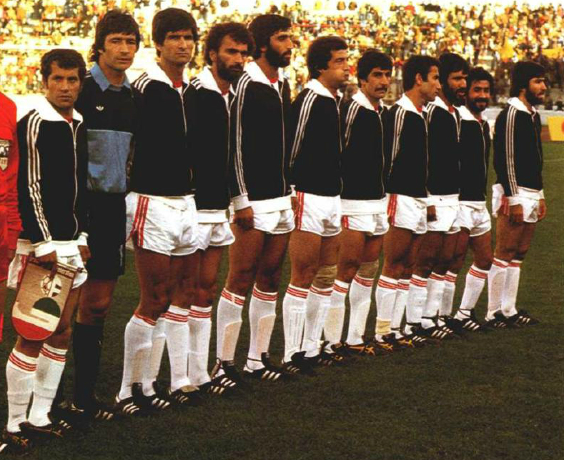 Iran's squad playing in '78 World Cup match against Scotland in Cordoba, Estadio Cordoba, Argentina
