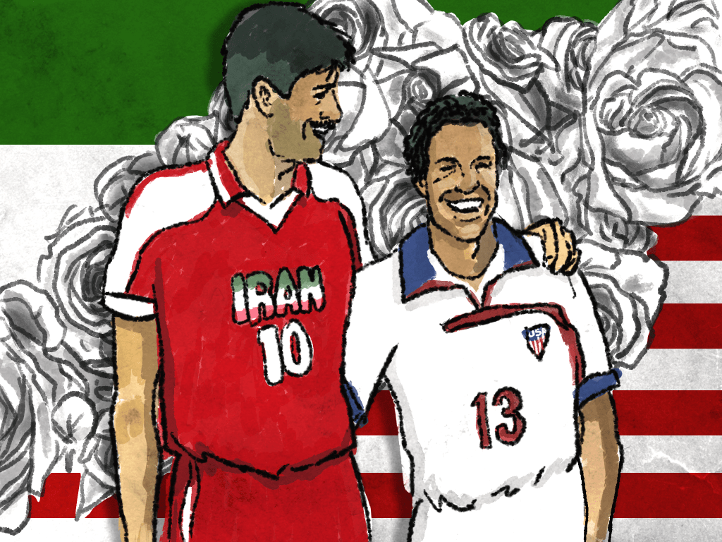 Iran vs USA, France 1998. Artwork by Fabrizio Birimbelli.