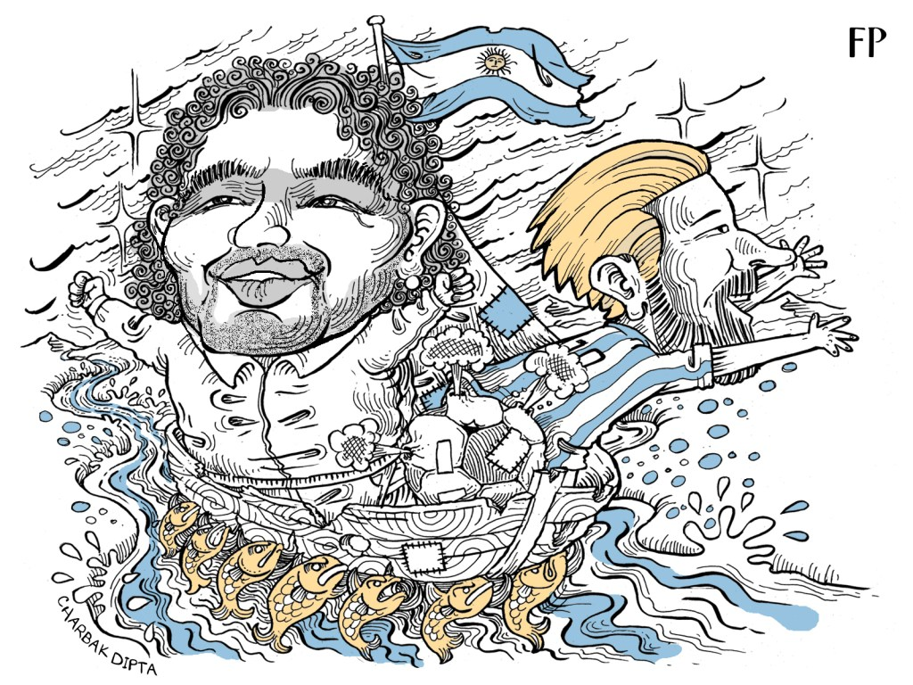 Argentina fans are not an easy bunch to please, and the team's antics on the pitch can sometimes leave the public disgruntled. Art by Charbak Dipta
