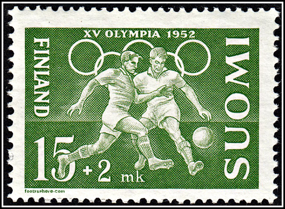 Semi-postal football stamp issued as part of a set to commemorate the XV Olympic Games in Helsinki.