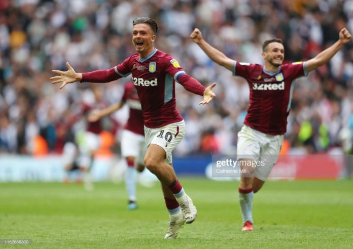 Jack Grealish of Aston Villa celebrates victory