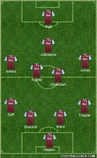 Burnley 4-4-1-1 football formation