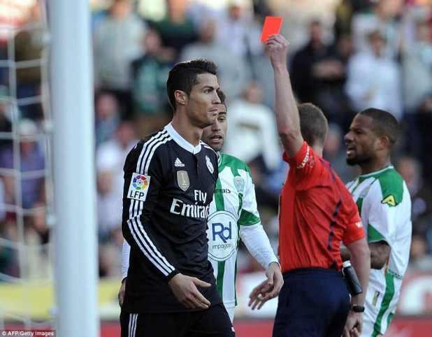 Cristiano Ronaldo received red card