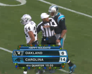 Referee Jerome Boger confirms a protested non-call from Newton