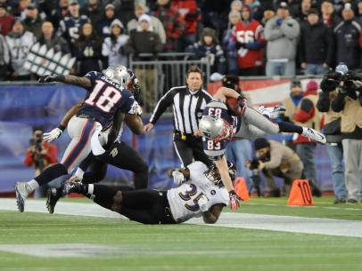 Side judge Doug Rosenbaum covering a reception by Patriots receiver Wes Welker. (Keith Nordstrom/New England Patriots)