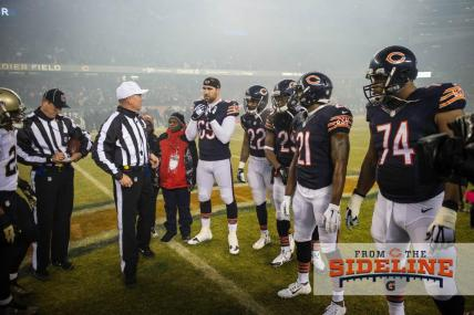 Referee Carl Cheffers conducts the coin toss (Chicago Bears photo)