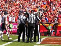 Umpire Bruce Stritesky with line judge Bart Longson and referee Tony Corrente (Kansas City Chiefs)
