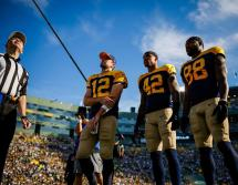Brad Allen tosses the coin (Green Bay Packers)
