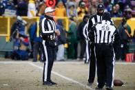 Ed Hochuli, Clay Martin and Rusty Baynes (Green Bay Packers)