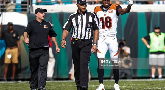 Umpire Fred Bryan informs the Bengals' A.J. Green he is ejected after a Week 9 altercation.