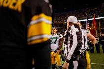 Ed Hochuli conducts the coin toss (Green Bay Packers)
