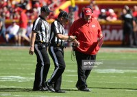 KANSAS CITY, MO - SEPTEMBER 23: Kansas City Chiefs head coach Andy Reid talks with the referees in the fourth quarter of a week 3 NFL game between the San Francisco 49ers and Kansas City Chiefs on September 23, 2018 at Arrowhead Stadium in Kansas City, MO. The Chiefs won 38-27. (Photo by Scott Winters/Icon Sportswire via Getty Images)
