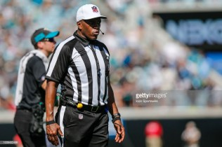 JACKSONVILLE, FL - SEPTEMBER 23: NFL referee Shawn Smith looks on during the game between the Tennessee Titans and the Jacksonville Jaguars on September 23, 2018 at TIAA Bank Field in Jacksonville, Fl. (Photo by David Rosenblum/Icon Sportswire via Getty Images)