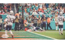 Jeff Seeman make a call at the pylon (Miami Dolphins)