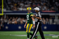 Ron Torbert and Aaron Rodgers share a light moment (Green Bay Packers).