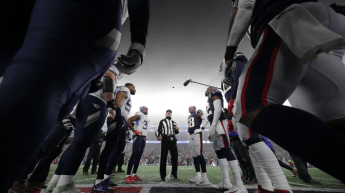 John Hussey tosses the coin (Tennessee Titans)