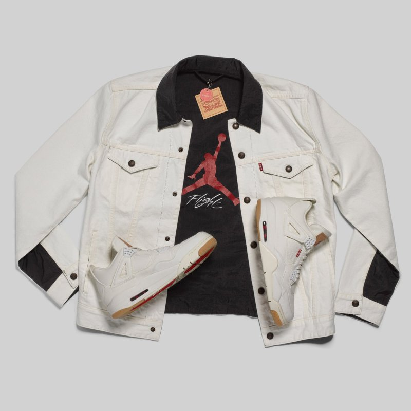 Air Jordan 4 Levis White with Denim Jacket