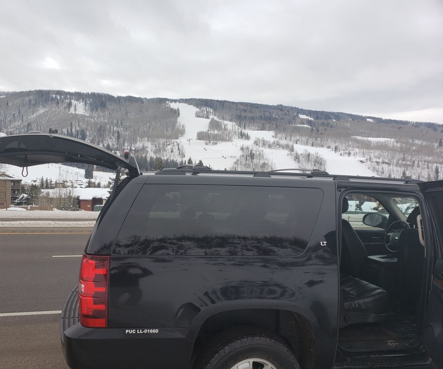 Vail private transportation, private SUV car service, opened trunk