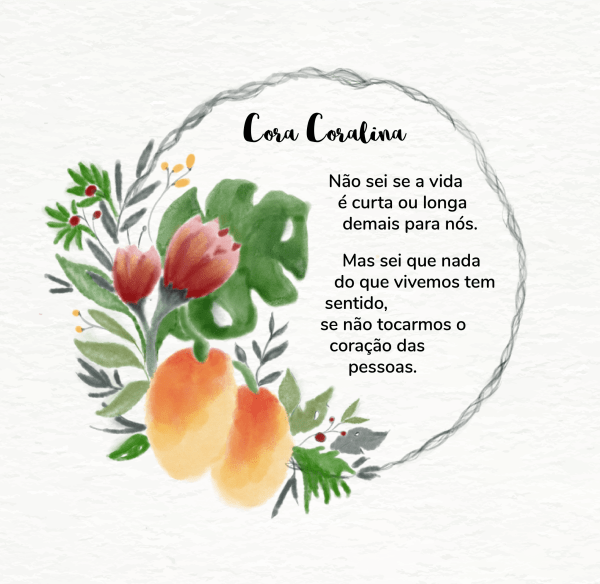 Cora coralina poema Português watercolor half wreath design