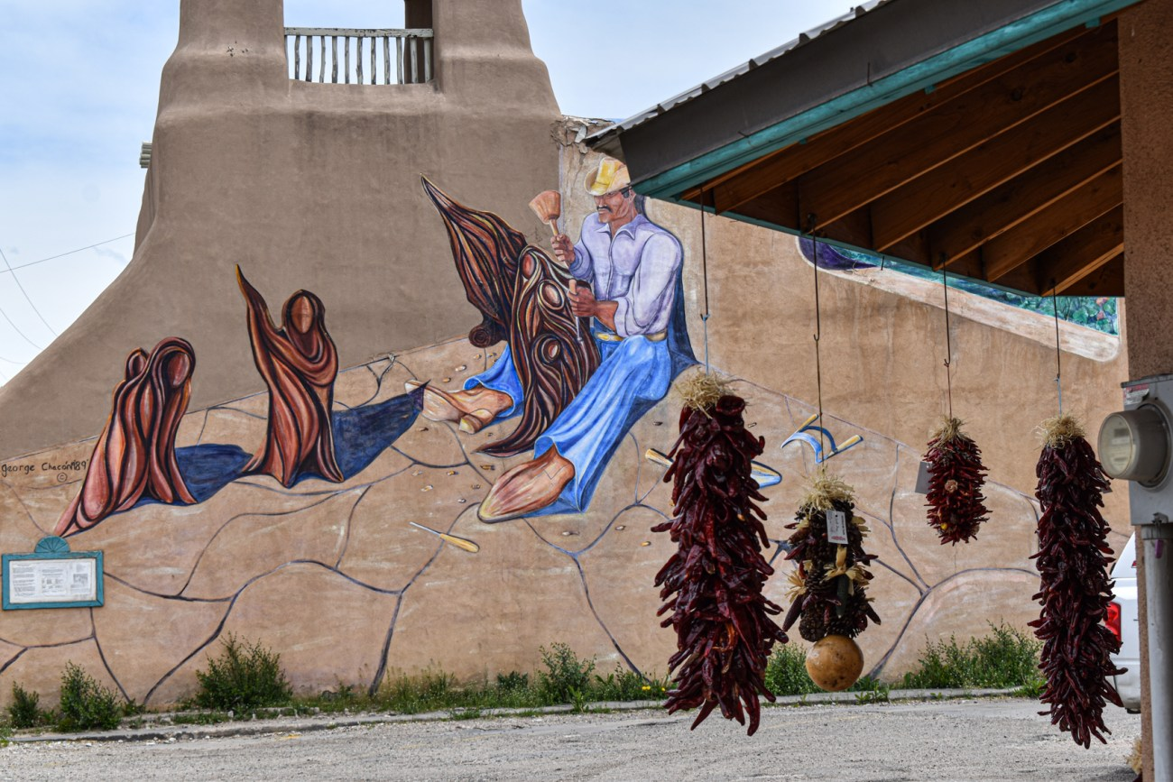 Taos Historical Center with New Mexican Ristras (string of red Hatch chile pods).