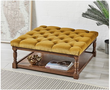 burlington deep buttoned square oak framed coffee table stool footstools more