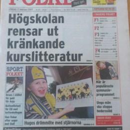 2007. Hugo på framsidan av tidningen Folket i samband med Outsidersdokumänten på kanal5.
