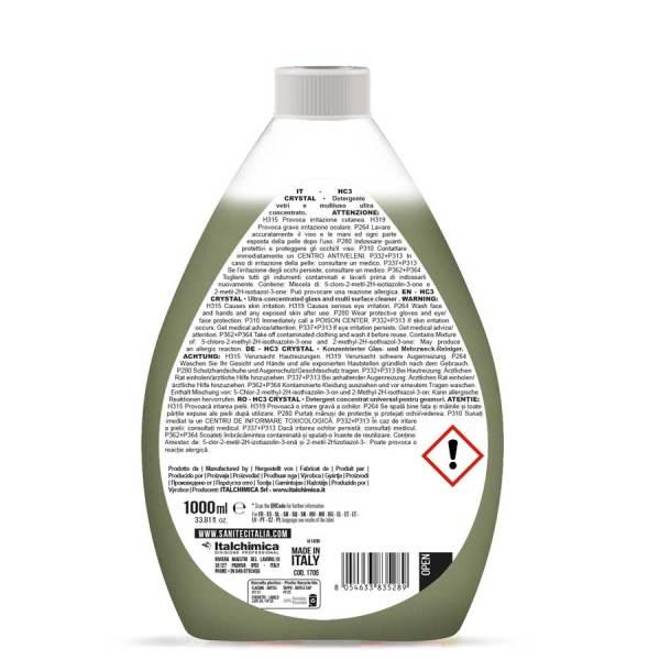 detergente multiuso liquido per vetri specchi cristalli e spolvero ultra concentrato da diluire in acqua in flacone da 1000 ml HC3 crystal codice 1705