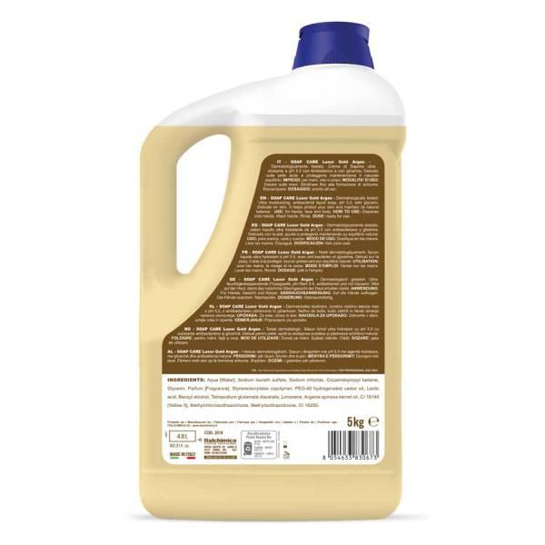 sanitec crema di sapone profumata all'argan con ph 5.5 con antibatterico in tanica da 5 lt cream soap luxor gold argan codice 2018