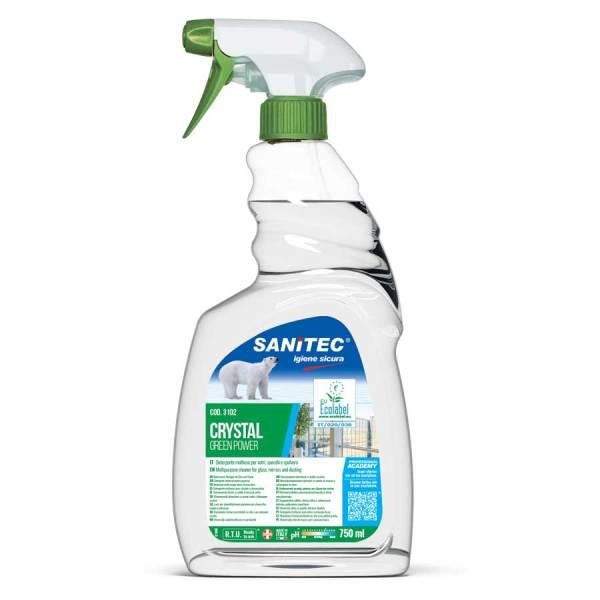 sanitec detergente multiuso per vetri specchi e spolvero h.a.c.c.p.- in rigger spray da 750 ml crystal green power codice 3102