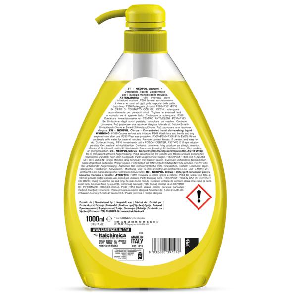 sanitec detergente piatti a mano h.a.c.c.p. ultra concentrato sgrassa a fondo ed elimina gli odori profumato agli agrumi in dispenser da 1000 ml neopol agrumi 1231