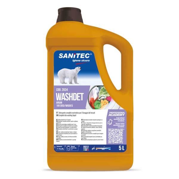 sanitec detersivo lavatrice profumazione argan per bianche e colorati in tanica da 5 lt washdet argan codice 2024