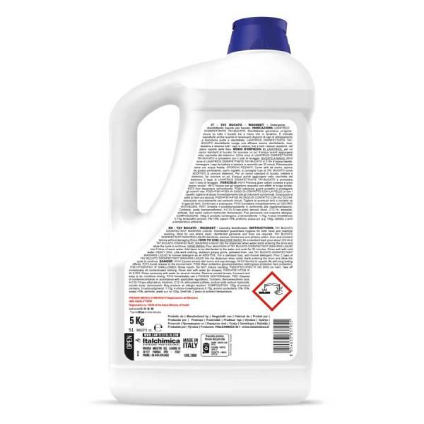 sanitec detersivo per lavatrice liquido disinfettante per il bucato deodora lava e sbianca in tanica da 5 lt washdet taybucato codice 2090