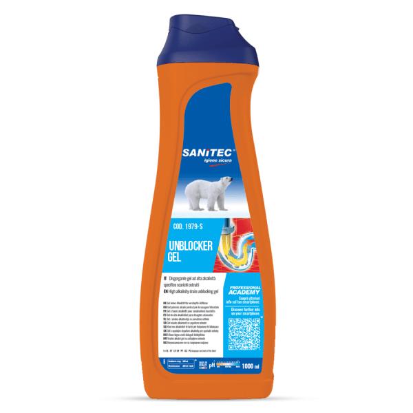 sanitec disgorgante in gel aiuta ad eliminare gli odori e mantenere gli scarichi liberi in flacone da 1000 ml unblocker gel codice 1979-S