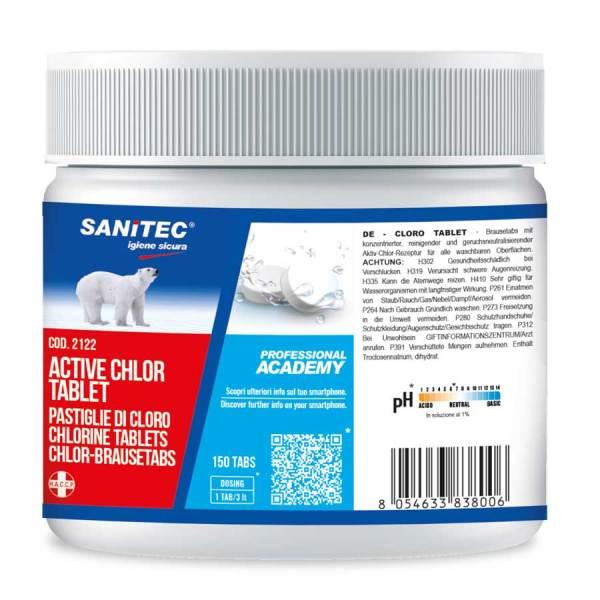 sanitec pastiglie di cloro per pavimenti superfici lavabili wc bagni cucina lavastoviglie in barattolo da 150 tabs active chlor tablet codice 2122
