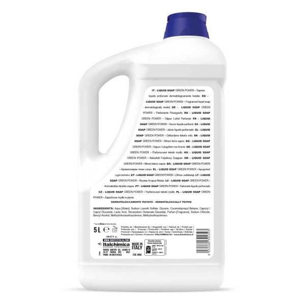 sanitec sapone ecologico senza coloranti profumato per corpo capelli e mani in tanica da 5 lt liquid soap green power codice 4006