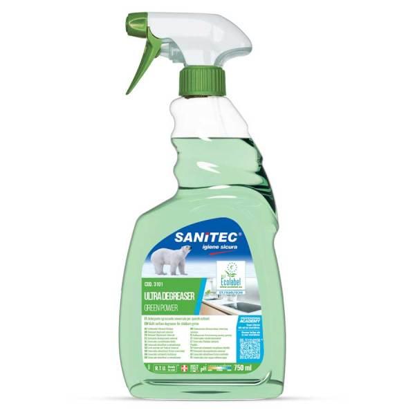sanitec sgrassatore ecologico per sporco ostinato h.a.c.c.p. in trigger spray da 750 ml ultra degreaser green power codice 3101