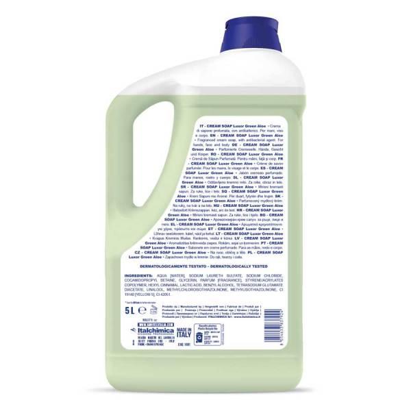 sapone in crema con profumazione luxor green aloe con antibatterico per mani viso e corpo in tanica da 5 kg codice 1081