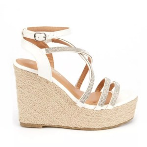 eeefd74157e Florence White Hessian Wedge Diamante Espadrille Sandals