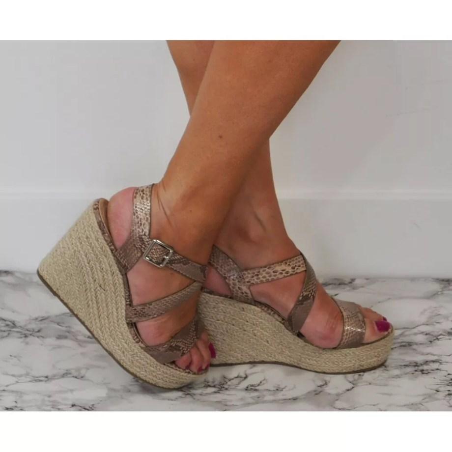Fleur Crossover Hessian Heel Wedge Espadrille Sandals - Brown Snake Print