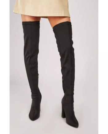 Ariya Lycra Thigh High Over The Knee Boots - Black