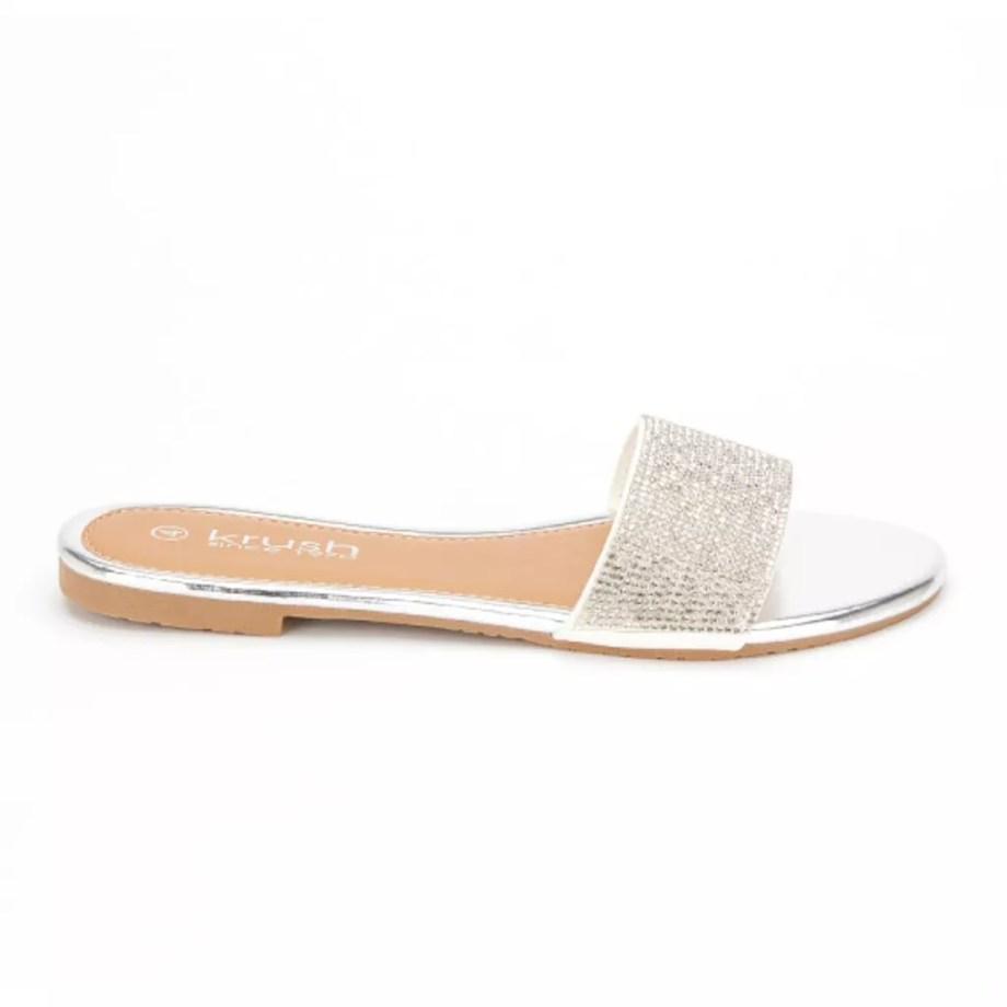 Denise Flat Diamante Summer Sliders - Silver