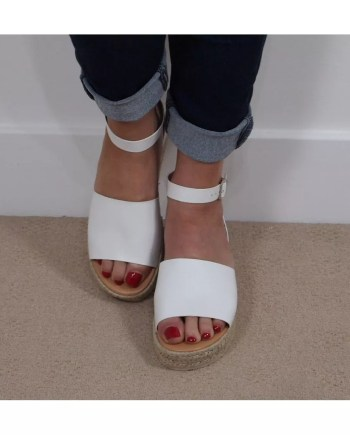 Kay Two Part Hessian Wedge Espadrille Sandals - White