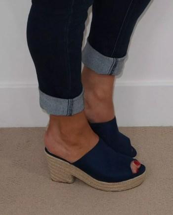 Victoria Mule Rope Heel Sandals - Navy