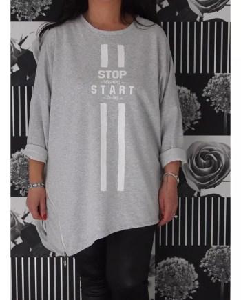 Teegan Asymmetric Zipped Slogan Top - Grey